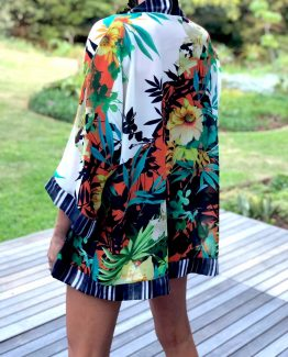 TROPICAL CONTRAST BORDER KAFTAN