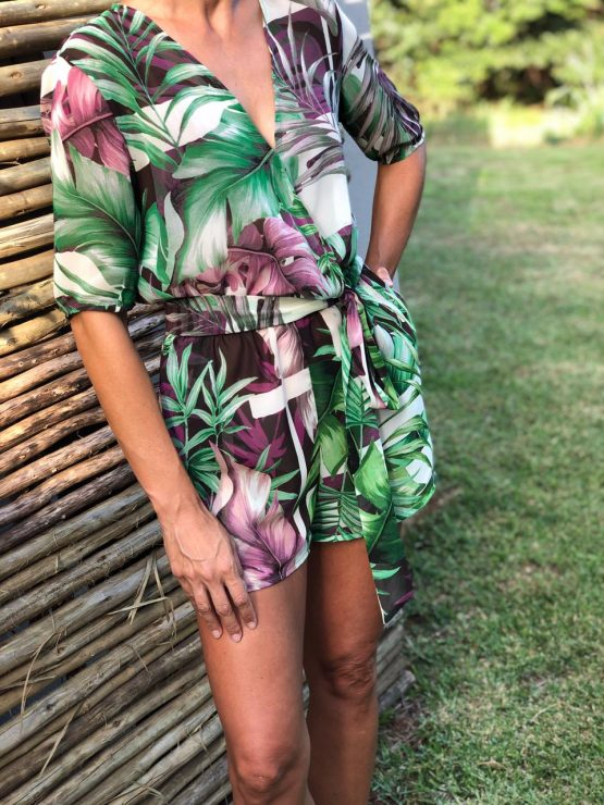 SEMI SHEER TROPICAL PLAYSUIT