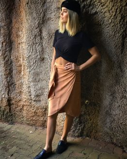 SUEDE WRAP SKIRT - CAMEL