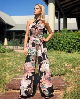 TWIST FLORAL JUMPSUIT