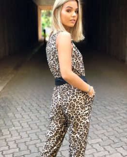 Leopard cross over jumpsuit