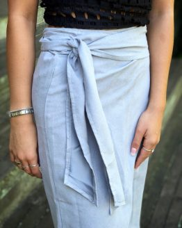 SUEDE WRAP SKIRT - GREY