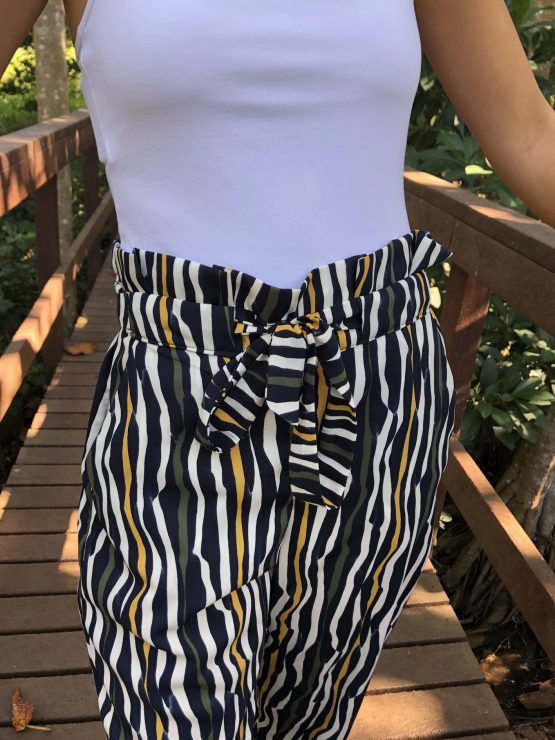 stripe paperbag trousers