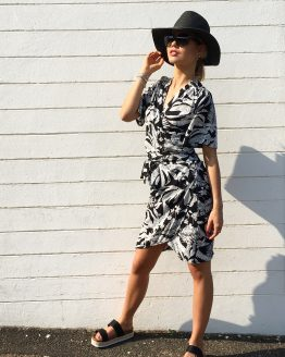 Sunset Palm Wrap Dress