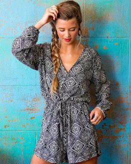 Geo 3 Quarter Sleeve Playsuit