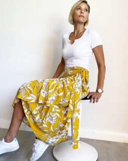 Yellow ruffle wrap skirt