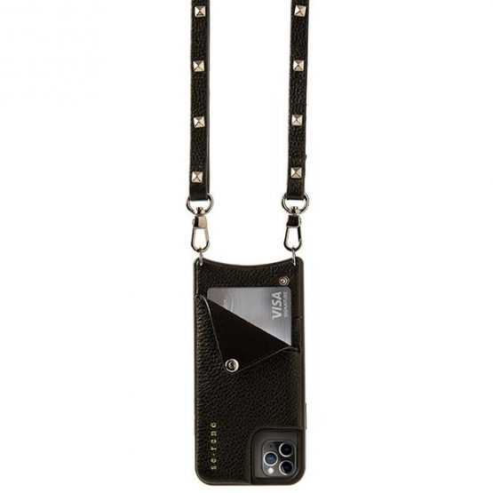 Leather pouch with strap - pewter