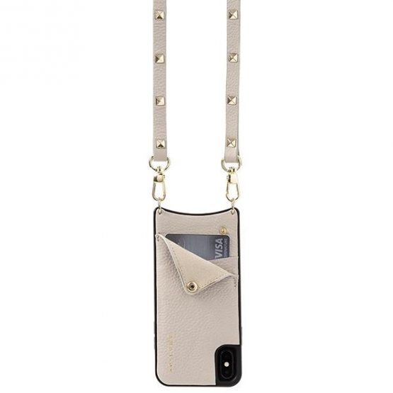Leather pouch with strap - Beige