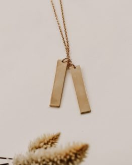 Double Bar Necklace - gold