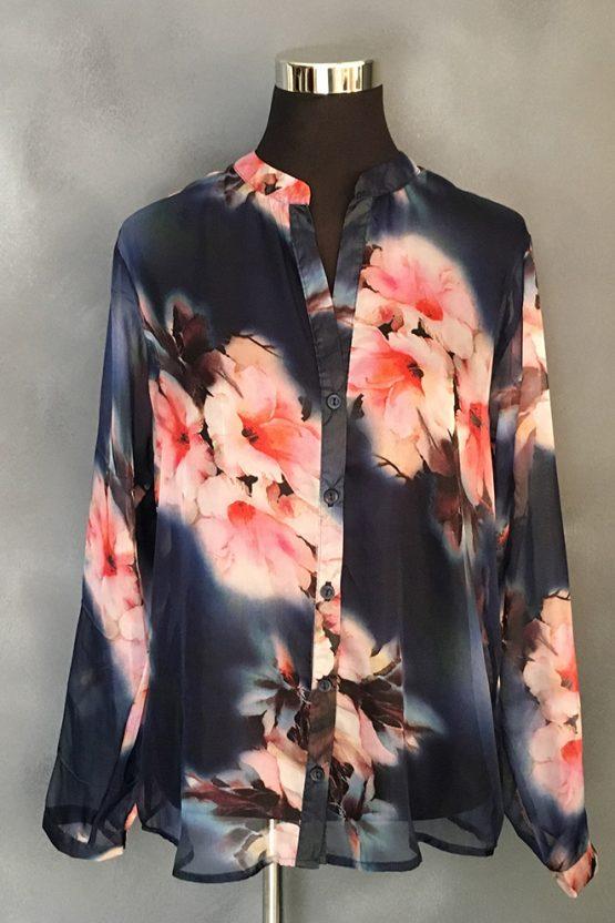 Indigo floral blouse