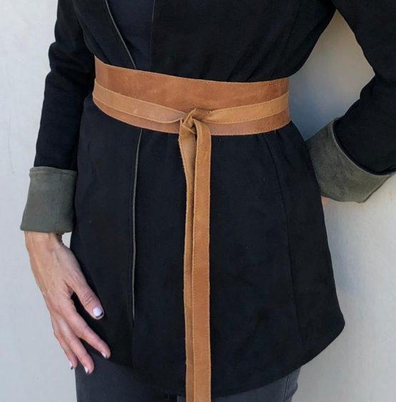 Luxe tan leather wrap belt