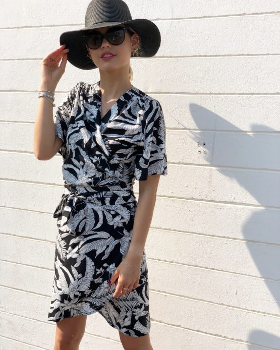 Sunset Palm Wrap Dress