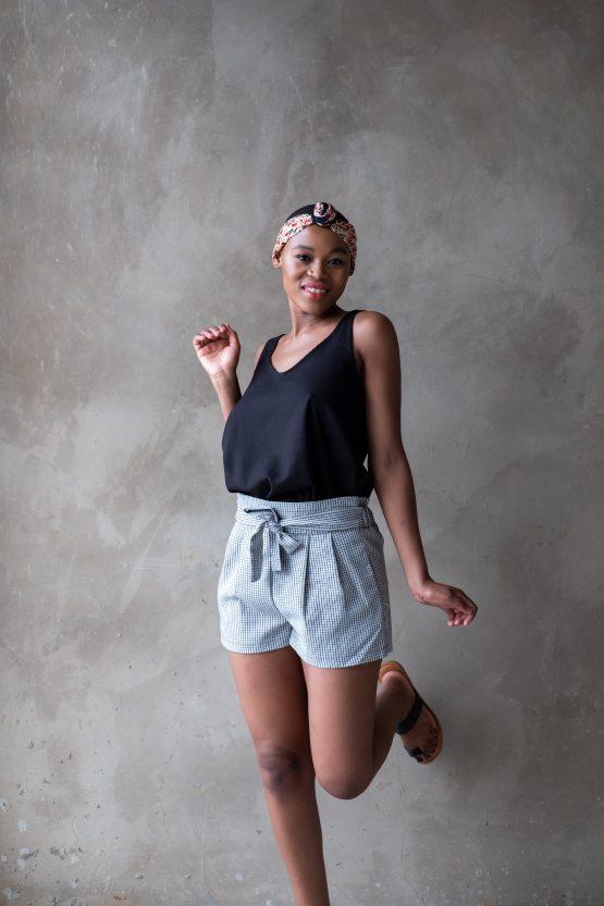 Check high-waisted shorts