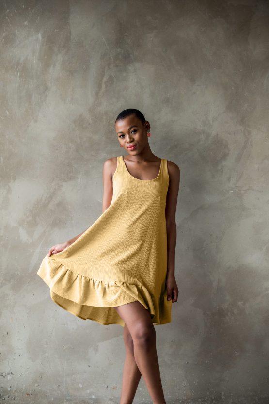 Frill dress - yellow