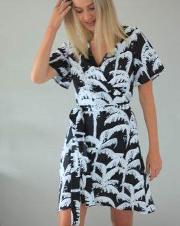 Black & White Palm Wrap Dress