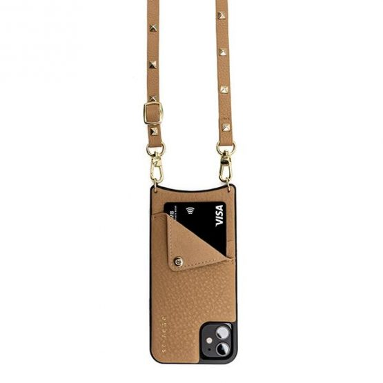 Leather pouch with strap - Tan