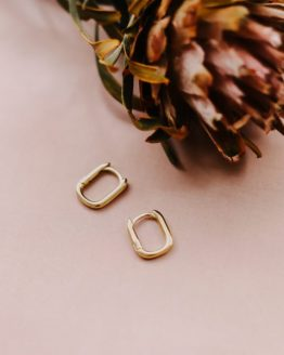 square huggy hoops - Gold