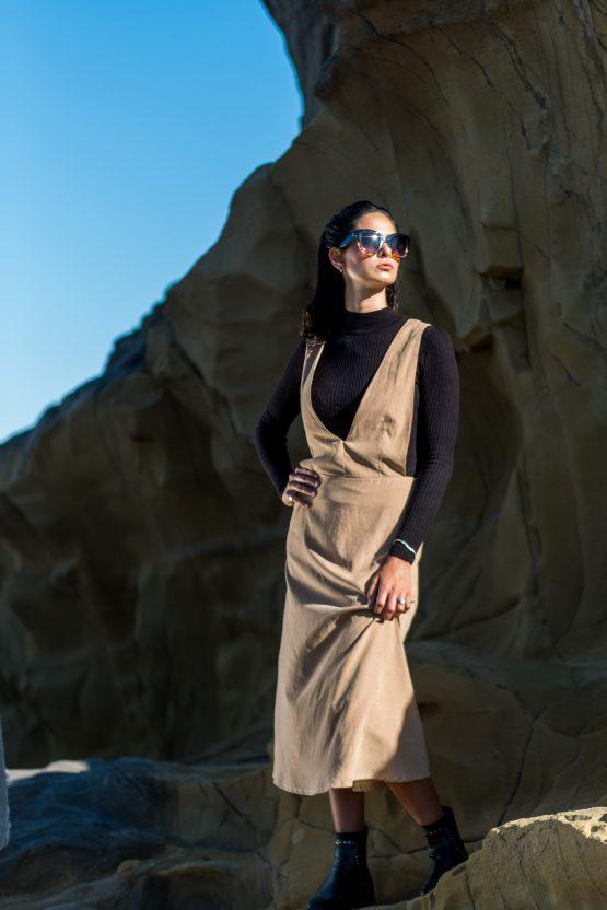 Cupro V pinafore dress - camel