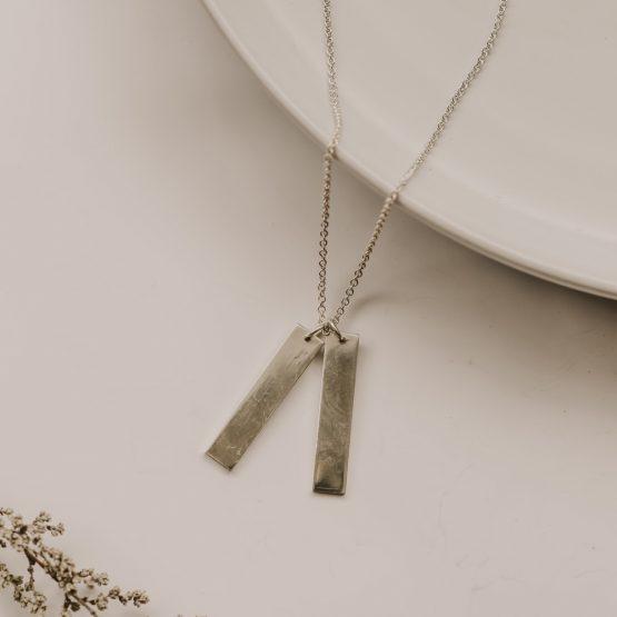 Double Bar Necklace - Silver